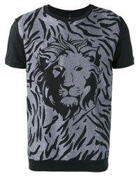 Versus   Black Metallic Lion Print T-shirt for Men   Lyst