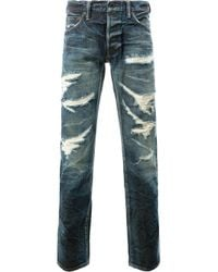 Mastercraft Union | Blue - Tapered Distressed Jeans - Men - Cotton - 33 for Men | Lyst
