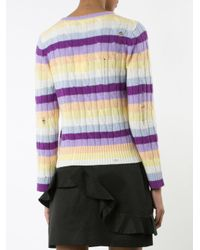 Marc Jacobs | Purple Cable Knit Stripe Sweater | Lyst