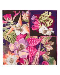Ferragamo | Multicolor Hibiscus Flower Print Scarf | Lyst