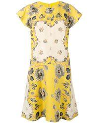 Etro | Yellow - Floral Print Shift Dress - Women - Silk - 42 | Lyst