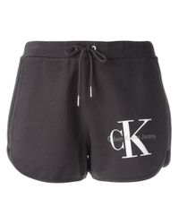Calvin Klein Jeans | Gray Logo Print Track Shorts | Lyst