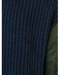 DIESEL - Blue Padded Sleeve Jumper for Men - Lyst