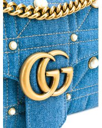 Gucci - Blue Gg Marmont Shoulder Bag - Lyst