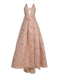 Alex Perry | Pink Strapless Jacquard Gown | Lyst