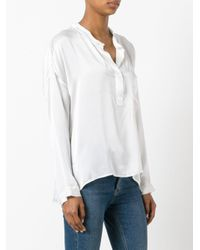 Nude - White Henley Blouse - Lyst