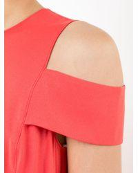Halston - Red Cold Shoulder Dress - Lyst