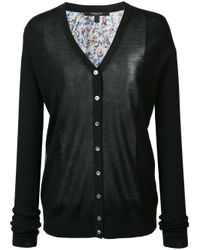 Derek Lam - Black Printed Back Buttoned Cardigan - Lyst