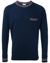 Moncler | Blue - Stripe Trim Sweater - Men - Cotton - Xl for Men | Lyst