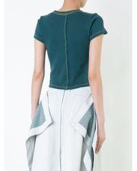 Eckhaus Latta - Green Lapped Cropped T-shirt - Lyst