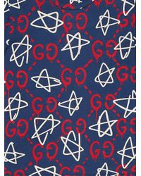 Gucci Blue Ghost-print Crew-neck T-shirt for men