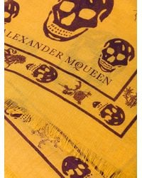 Alexander McQueen - Multicolor Skull And Badge Scarf for Men - Lyst
