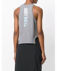 Nike - Gray Cropped Tank - Lyst