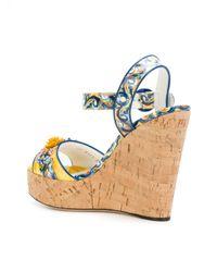 Dolce & Gabbana - Blue Majolica Print Wedges - Lyst
