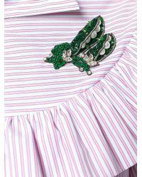 Vivetta - Multicolor Ruffled Shirt With Brooch - Lyst