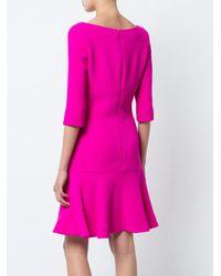 Oscar de la Renta - Pink Flounce Hem Dress - Lyst