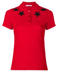 Givenchy | Red Star Appliqué Polo Shirt | Lyst