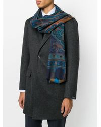 Etro - Blue Paisley Print Scarf for Men - Lyst