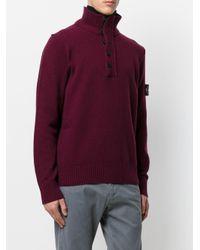 Stone Island - Purple Zipped High Neck Jumper for Men - Lyst