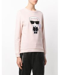 Karl Lagerfeld - Pink Iconic Karl Print Sweatshirt - Lyst