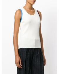 Calvin Klein - White Striped Detailing Knitted Tank - Lyst