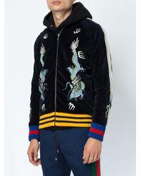 Gucci - Multicolor Dragon Embroidered Velvet Bomber Jacket for Men - Lyst