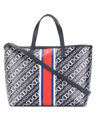 Tory Burch | Blue Chain Link Print Tote | Lyst