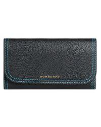 Burberry - Black Colour Block Continental Wallet - Lyst
