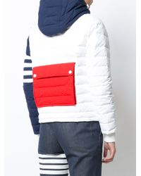 Thom Browne - Downfill Ski Jacket With 4-bar Stripe & Removable Hood In Red - Lyst