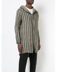 Transit - Gray Striped Hooded Jacket for Men - Lyst