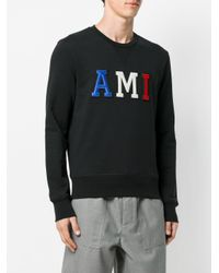 AMI - Black Sweatshirt Patched Ami Letters for Men - Lyst