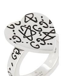 Gucci - Metallic Ghost Heart Ring - Lyst