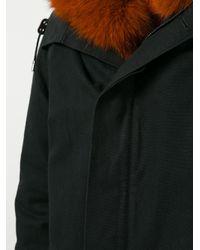 Yves Salomon - Black Fur Hooded Coat for Men - Lyst