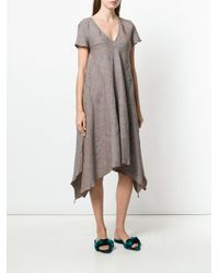 Hache Multicolor Short-sleeve Flared Midi Dress