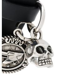 Alexander McQueen - Black Wraparound Skull Charm Bracelet for Men - Lyst