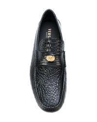 Versace - Black Crocodile Effect Signature Loafers for Men - Lyst
