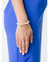 Sydney Evan - White Fresh Water Pearls Beaded Bracelet With Diamond Starfish Charm - Lyst