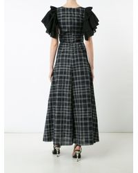 TOME - Black Long Ruffle Sleeve Dress - Lyst