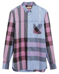 Burberry - Blue Check Stretch Shirt for Men - Lyst
