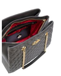Love Moschino | Gray Double-chain Quilted Shoulder Bag | Lyst