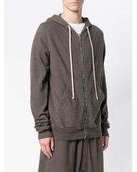 Rick Owens Drkshdw - Gray Full-zip Hoodie for Men - Lyst