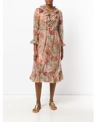 Zimmermann Brown Floral Ruffle Dress
