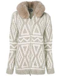Eleventy - White Fox Fur Hooded Textured Cardigan - Lyst