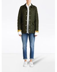 Burberry - Green Diamond Quilted Jacket - Lyst
