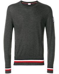 Moncler - Gray Striped Hem Jumper for Men - Lyst