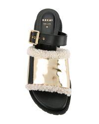 Sacai - Black Shearling Trim Sandals - Lyst