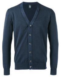 Eleventy - Blue Neck Cardigan for Men - Lyst