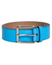 Burberry - Blue Logo Embossed Belt - Lyst