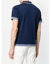 Prada - Blue Contrast Piped Polo Shirt for Men - Lyst