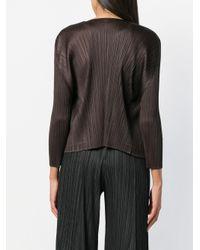 Pleats Please Issey Miyake - Black Pleated Asymmetric Jacket - Lyst